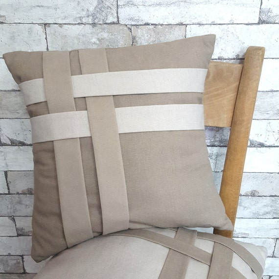 Throw Pillows For Neutral Couch : Ivory Pillow Cover Taupe Throw Pillow Neutral Pillow Cover