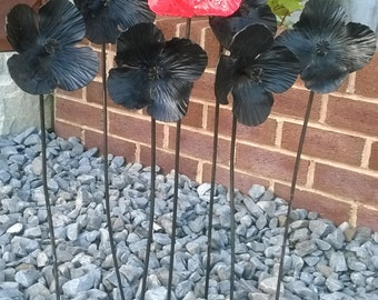 Hand forged metal poppy