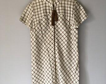 Stewardess Style Vintage 60s Stacy Ames Plaid Shift Dress w Zipper and Tie