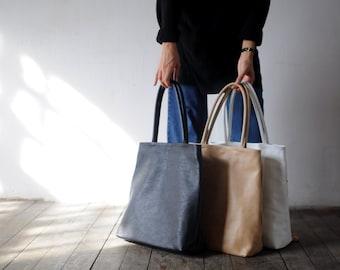 Black tote bag of genuine leather gabrielle_27, minimalist bag, simple bag,
