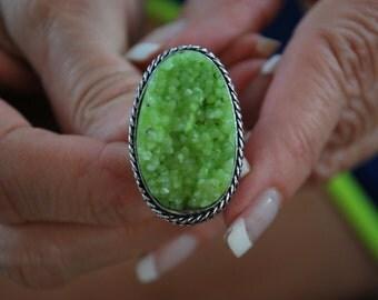 Druzy Ring-size 6.75!