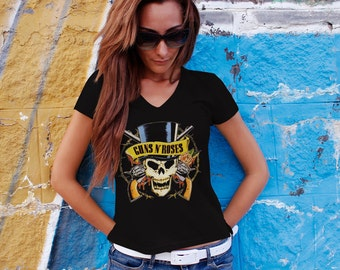 Guns n Roses  Women T-shirt Black Guns n Roses V Neck  Tshirt Rock Women Shirt Guns N roses  Tee Rocker Tshirt Design 3