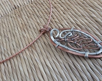 Cicada Wing copper and sterling collar necklace