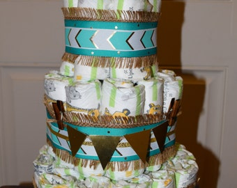 Gold and Teal Diaper Cake
