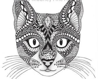 Cat Zentangle Print