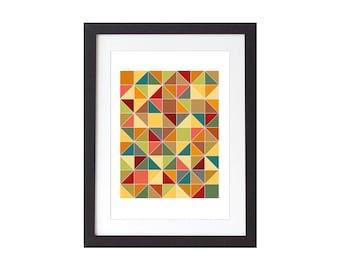 Autumn Coloured Triangles Geometric  Print - Geometric Poster - Scandinavian Wall Art - Home Decor
