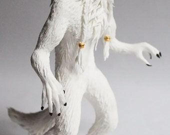 Werewolf white wolf fantasy figure animal clay figurine anthro gift furry statuette sculpture