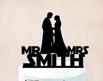 Star Wars wedding cake topper, Star Wars Cake Topper, Anakin and Padme Cake Topper,Star Wars Silhouette,wedding cake topper Star Wars (1033)