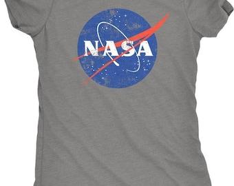 NASA Distressed Meatball Logo Women's Tri-Blend T-Shirt - Plus sizes available!