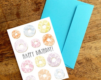 Happy Birthday | Party Rings | A6 Greetings Card | Celebration | Birthday | Biscuits | Fun | Sweet | Cute | Snowtap | SALE