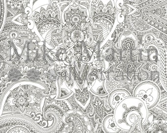 Printable Zentangle coloring page (extreme detail) Instant download adult coloring page
