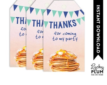 Pancakes Favor Tags / Pancake Thank You Tag / Pancakes Thank You Labels / Waffle Favor Tags / Blue Green Favor Tags