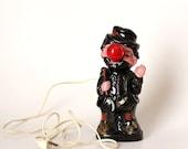 drunk hobo lamp . 1950s Redware lamp . red nose guy bar lamp . vintage 50s  barware novelty lamp . Bourbon street boozer
