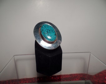 Large Sterling Silver Ring with Chinese Turquoise Stone