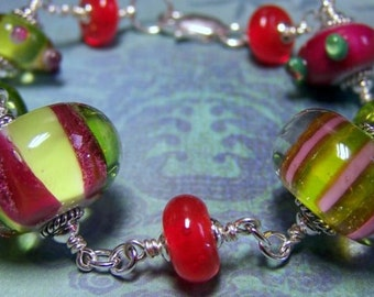 Glass Bead And Sterling Silver Bracelet - Fun and Funky Striped, Stripes, Colorful, Gifts for Her. Unique and Colorful. Pink. Green