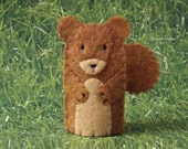 Squirrel Finger Puppet - Forest Animal Puppet - Felt Animal Finger Puppet - Felt Squirrel Toy