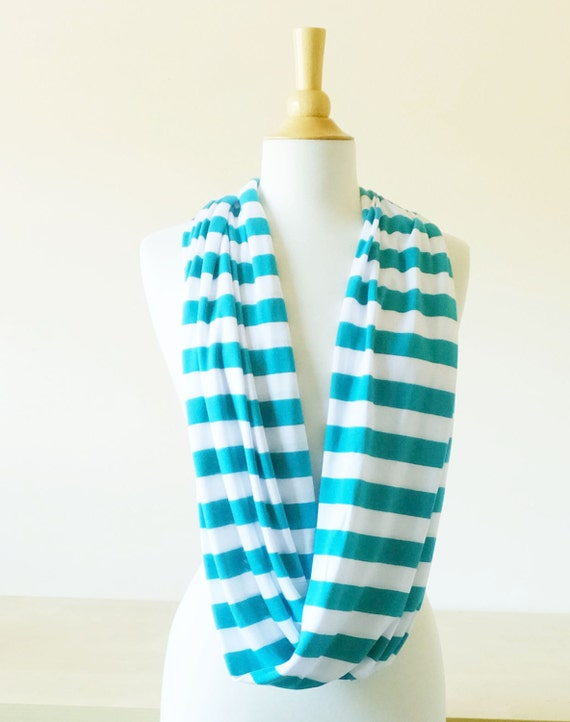 SALE Teal blue stripe scarf white striped cotton Infinity Scarf circle scarf, white, cowl scarf, tube scarf winter accessories