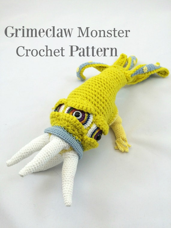 Monster Doll Amigurumi Plush Crochet Pattern - Grimeclaw Monster Soft Sculpture Collectible