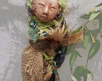 Dryad tree spirit, Ooak Art Dolls,Serenity Spirit, Zen Garden Keeper, Nature Goddess, Art doll,