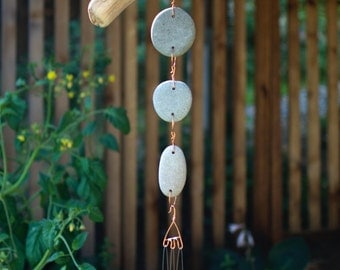 Wind Chime Driftwood Beach Stone Brass Chimes West Coast Garden Art