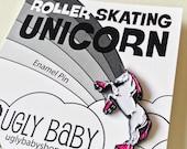 Enamel Pin: Roller Skating Unicorn, Unicorn Pin, Roller Derby Pin, Roller Derby Fan, Roller Derby Gift, Unicorn Party, Enamel Lapel Pin