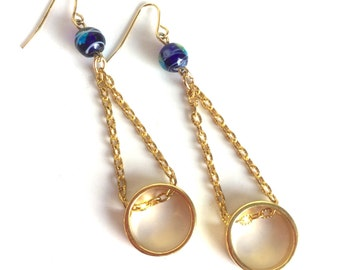 Handmade Gold and Cobalt Blue Earrings - Gold Rings Circles Hanging from Textured Gold Chains - Blue Lamp Work Glass Beads with Aqua & Lime