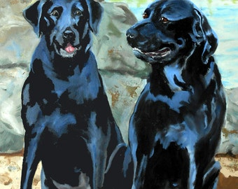 Dog Gift, Labrador Retriever and Rottweiler Mix Dog Portrait Painting, Custom Pet Portraits from Photos, Dog Lover Christmas Gift Idea Cats