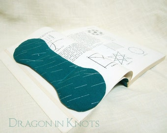 Rainy Day Book Weight - Teal Japanese Fabric with metallic silver accents - Textbook Page Holder, Weighted Bookmark, abstract geometric rain