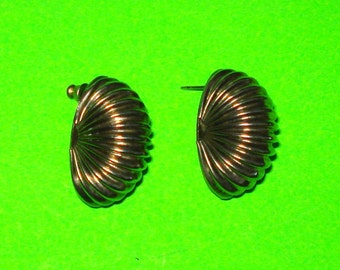 Vintage 1950s Super Retro Accordion Silver Fan Earrings