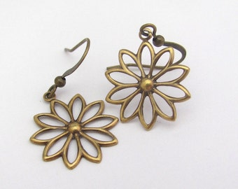 Flower Earrings, Bohemial Earrings, Petite Dangle Earrings, Antiqued Golden Dangle Drop, Gift for Her, Summer Outdoors, Summer Party