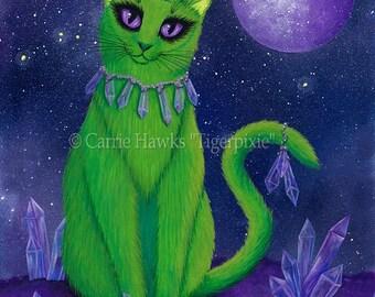 Alien Cat Art Cat Painting  Space Cat Green Alien Cat Purple Crystals Fantasy Cat Art Print 8x10 Cat Lovers Art