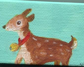 Fawn deer mini canvas art, Easel, fawn wearing bell, tiny little art, Original acrylic painting, canvas art, 2 x 3