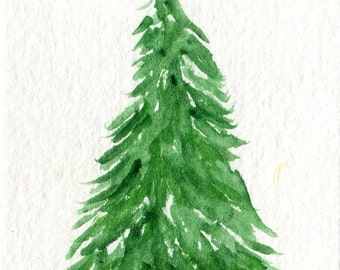 ACEO Christmas Tree Original Watercolor Painting, Art Card, Christmas decor