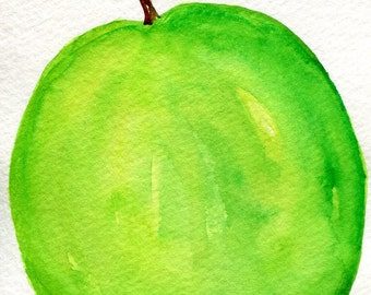Green Apple Watercolor Painting, Small Fruit Painting, Food Kitchen Wall Art, Granny Smith apple, 4 x 6, original watercolor apple painting