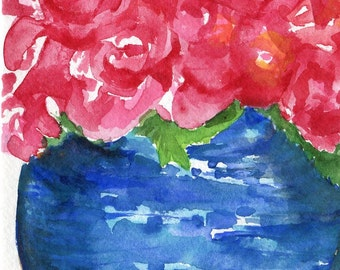 Roses watercolor painting original 5 x 7 still life painting roses in vase, red rose floral home decor, flowers watercolor art floral