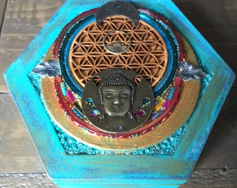 Upcycled Box with Flower of Life Buddha and Lotus