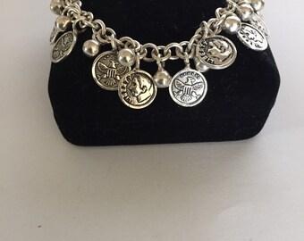 Fine Silver Coin Charm Bracelet Peruvian 950 silver