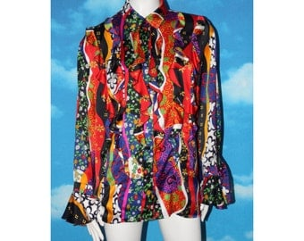 Yarell Psychedlic Bright Floral Ruffled Blouse Vintage 1980s