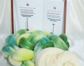 Double Drop Spindle Yarn Spinning Kit, Colorway, 3 Green Salad!