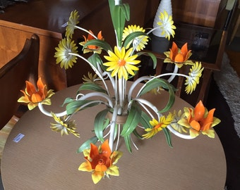 Vintage Metal Flower Floral Green Orange and Yellow Retro Light Fixture Chandelier