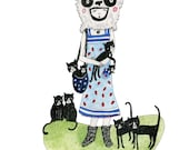 A4 or A5 Print: Crazy Cat Lady with Eight Cats