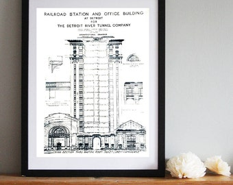 Blueprint Screen Print Poster. Detroit art print, 19x25 silkscreen print. Detroit MCS Train Station Blueprint screen print. Architect gift.