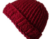 Red Sparkle Chunky Knit Hat Metallic Slouch Toque Ski Hat Women Gift Unisex AIDAN - Ready to Ship Autumn Winter Accessories