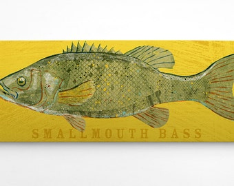 Gifts for Husband- Bass Fishing Gifts for Men- Smallmouth Bass Art Block Sign- Lake House Art- Fish Print- Smallmouth Bass Print