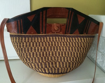 Tooled Leather and Woven Purse / Market Bag / Bucket Bag / Ethnic Boho
