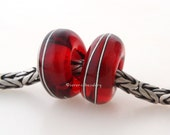 European Charm Lampwork Glass Beads Transparent RED Fine SILVER Wire Wrap Pair - TANERES