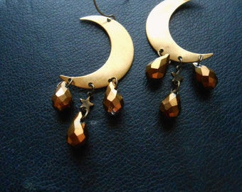 io - brass and gold crescent moon chandelier earrings - vintage occult goth witchy soft grunge festival jewelry
