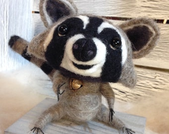 Orphan the Needle Felted Raccoon