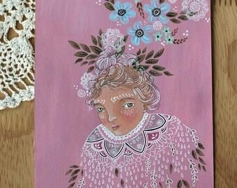 "Original mixed media painting on paper, ""Folk Capelet"" marmeecraft floral folk art"