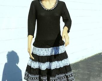 Womens dress black white dress cotton dress womens casual spring dress ooak